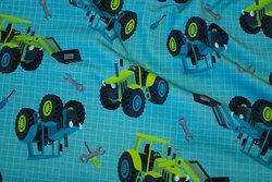 Let joggingstof i jadegrøn med traktorer