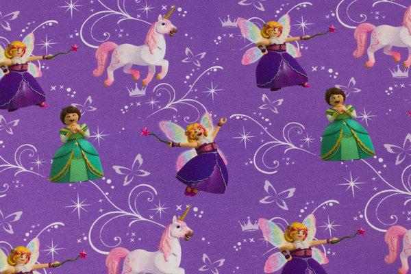 Lilla bomuldsjersey med Playmobil-prinsesser og enhjørninger