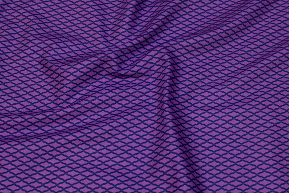 Lilla patchwork bomuld med marine domino mønster