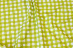 Lime og hvid bomuldsjersey med ca. 1 cm tern