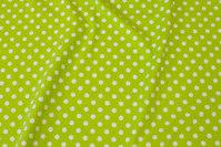 Limegrøn bomuldsjersey med hvide 8 mm prikker