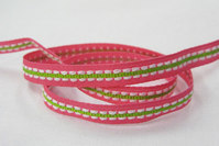 Lyserød/lime vævet bånd 0,7cm