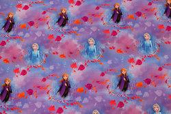Lyslilla og pink bomuldsjersey med Anna og Elsa