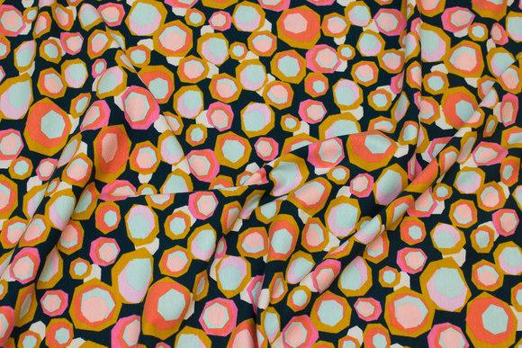 Marine bomuldsjersey med cirkelmønster i coral og pink og gul