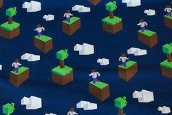 Marine bomuldsjersey med motiv i Minecraft stil