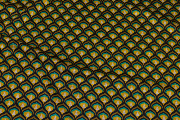 Marine heavyjersey med mønster i gul og jadegrønt