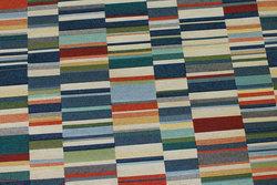 Møbelgobelin med stregmønster i blå farver