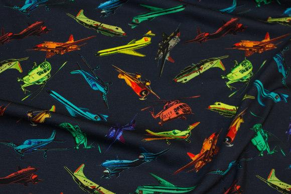 Mørk marine bomuldsjersey med fly i flotte farver
