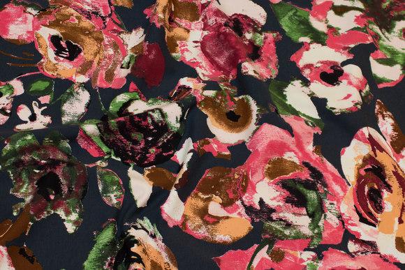 Mørk marine bomuldsjersey med rosa blomster
