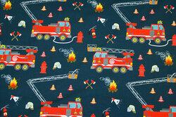 Mørk støv-marine bomuldsjersey med brandbiler