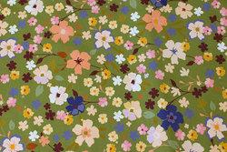 Mosgrøn bomuldsjersey med blomster