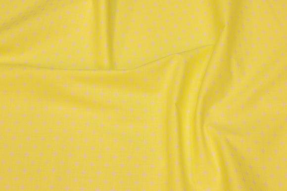 Neongul bomuld med lille hvidt mønster