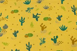 Ørkengul bomuldsjersey med kaktusser