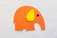 Orange elefant filt-strygemærke 8x7cm