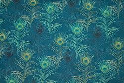Patchwork-bomuld med påfuglemønster