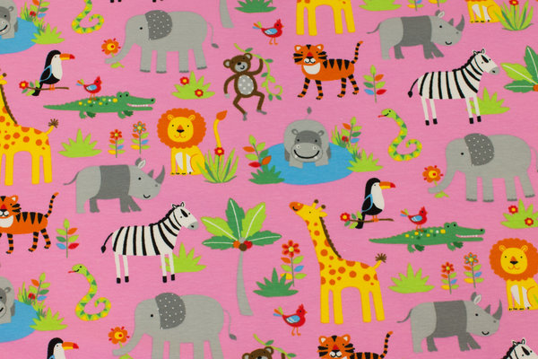 Pink bomuldsjersey med Afrikadyr