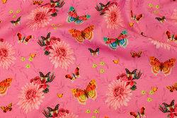 Pink bomuldsjersey med sommerfugle
