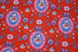Rød, fast bomuld med katte Fiona Hewitt Design