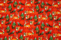 Rød julejersey med skovdyr