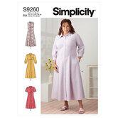 Kjoler med knapper i front. Simplicity 9260.