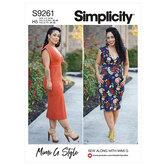Strikstof kun kjole i to længder. Simplicity 9261.