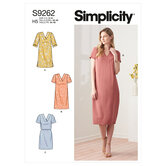 V-halsudskæring kjoler. Simplicity 9262.