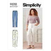 Vintage jeans med knapper eller lynlås. Simplicity 9266.