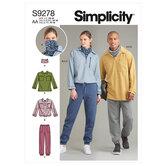Unisex toppe i to længder, bukser og halsklud. Simplicity 9278.