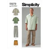 Mænd bluse og skjorte i to længder, bukser og shorts. Simplicity 9279.