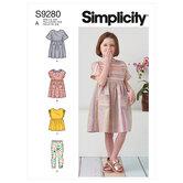 Børn kjoler, top og gamacher. Simplicity 9280.
