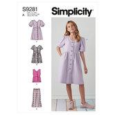 Piger kjoler, top og bukser. Simplicity 9281.