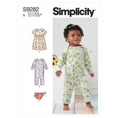 Baby strikkjole, buksedragt og ble-overtræk. Simplicity 9282.