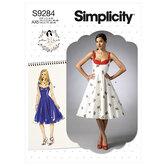 Sweetheart-halsudskæring kjoler. Simplicity 9284.
