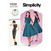 Kjoler med fold i udskæring på bagside. Simplicity 9286.