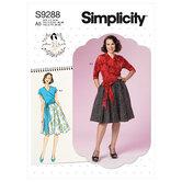 Slå-om top og klokkeformede nederdel. Simplicity 9288.