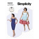 Prinsessesøm-kjoler med lige eller samlet nederdel. Simplicity 9291.