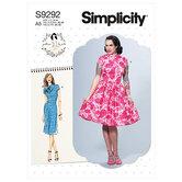 Kjoler med mandarinkrave og nederdels-varianter. Simplicity 9292.