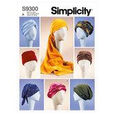 Hovedbeklædninger, hatte, turban, bandanas. Simplicity 9300.