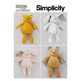 Plysbjørne og kaniner i to størrelser. Simplicity 9306.
