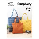 Mulepose tasker i tre størrelser. Simplicity 9308.