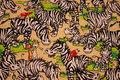 Sjov beige patchwork bomuld med masser af zebraer