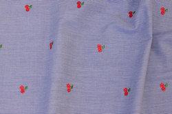 Smalstribet marine og hvid skjortebomuld med broderede kirsebær