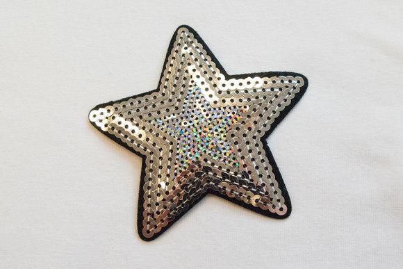 Sølv paillet stjerne Ø8cm