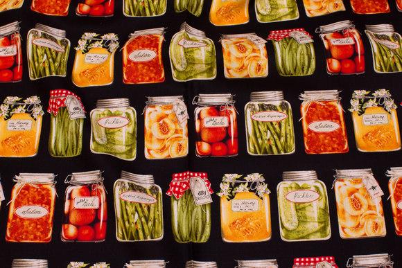 Sort patchwork bomuld med flotte sylteglas