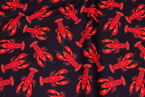 Sort patchwork bomuld med røde hummere
