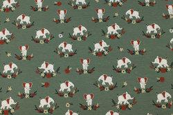 Støvgrøn bomuldsjersey med små elefanter