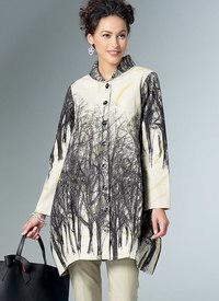 Løs bluse eller skjorter med standkrave, formet søm. Butterick 6491.