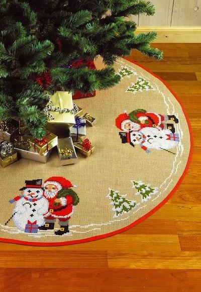 Juletræstæppe, rundt, Snemand og Julemanden