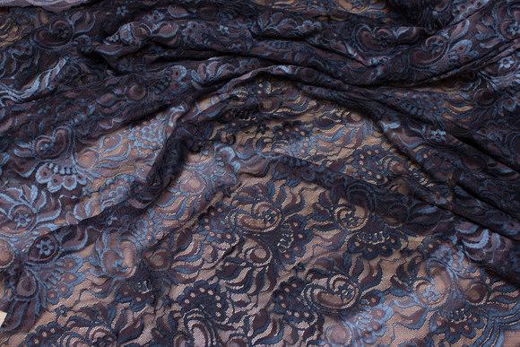 Batikfarvet strækblonde i mørkbrun og dueblå
