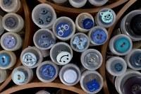 Blå knapper 7 bl.a. cykel, katte, bamser, biler